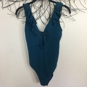 RUFFLE BLUE ONE PEICE SWIMSUIT plunge back. Small